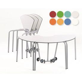 24 Tavoli componibili con ruote con angoli a 60°, Altezza 64 cm Colorati - MD
