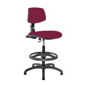 Sgabello girevole con schienale e seduta in tessuto classe B ignifugo Rosso
