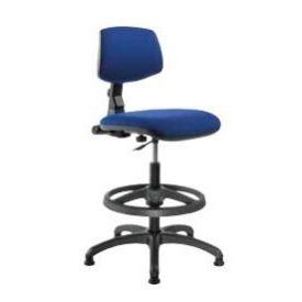 Sgabello girevole con schienale e seduta in tessuto classe B ignifugo Blu