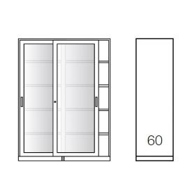 Armadio metallico, porte scorrevoli vetro 4+4, 120x60x200h cm