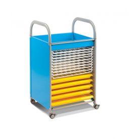 Carrello Porta disegni - Art Trolley Blu 5 vaschette/10 rack
