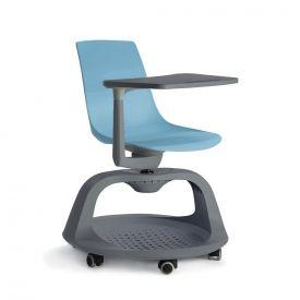 Sedia Follow Me su ruote con tavolino e base portazaino - Azzurro/Antracite
