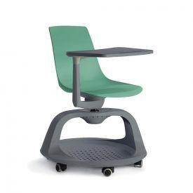 Sedia Follow Me su ruote con tavolino e base portazaino - Verde Acqua/Antracite