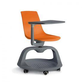 Sedia Follow Me su ruote con tavolino e base portazaino - Arancio/Antracite