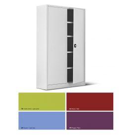 Armadio metallico, porte a battente, 4 ripiani, 100x45x200h cm Ante colorate/fianchi Grigi
