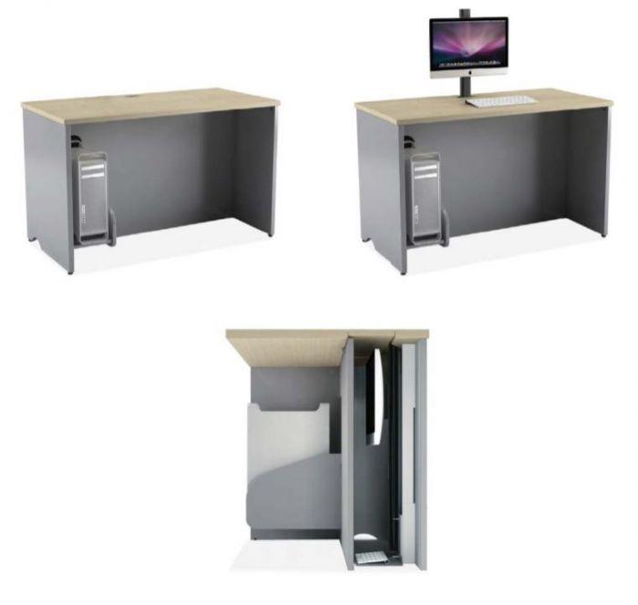 Scrivania Con Monitor A Scomparsa.Cattedra Multimediale 160x60x72 Con Porta Monitor Tastiera A